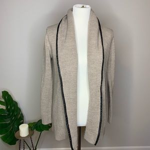 Mossimo Open Knit Cardigan with Faux Leather